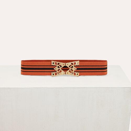 Cintura alta elasticizzata a righe - Cinture - MAJE