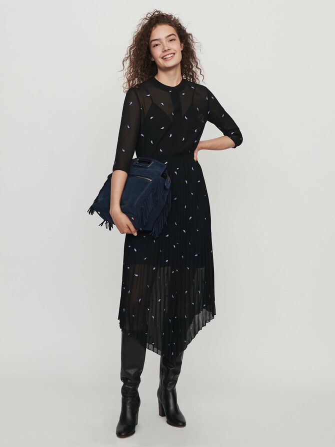 Vestito foulard plissettato e cashemire -  - MAJE