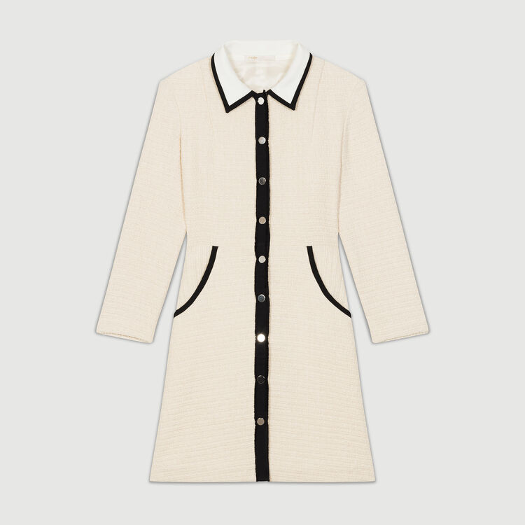 Vestito corto effetto tweed : Vestiti colore Ecru