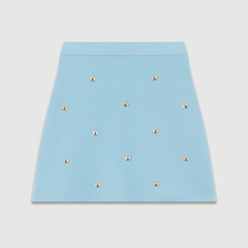 Gonna con api ricamate : Gonne e shorts colore Ceruleo