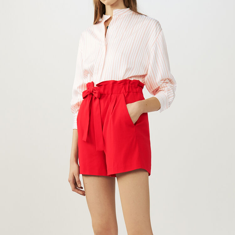 Short with tie belt : Gonne e shorts colore Rosso