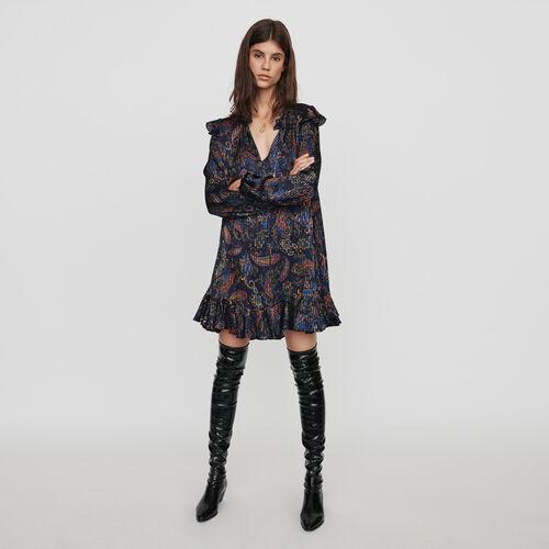 Vestito babydoll in jacquard stampato : Vestiti colore Blu Marino