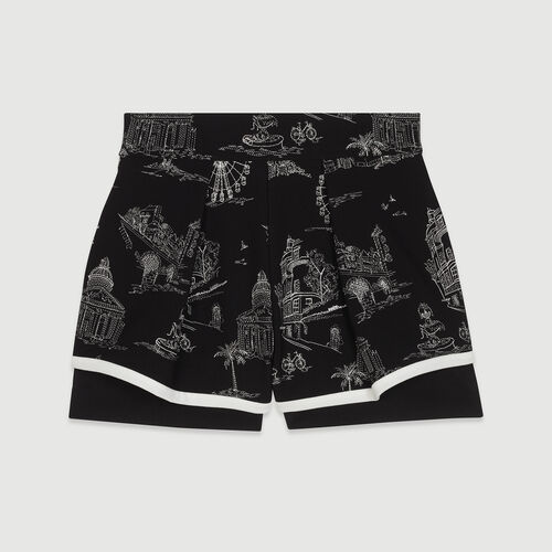 Short in crêpe ricamati : Gonne e shorts colore Nero
