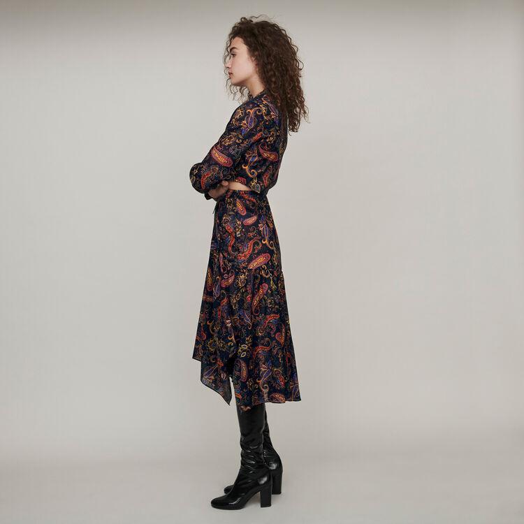 Vestito foulard in cotone stampato : Vestiti colore Blu Marino
