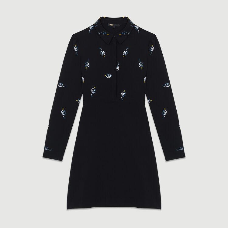 Scamiciato in cotone con ricami fantasia : Vestiti colore Nero