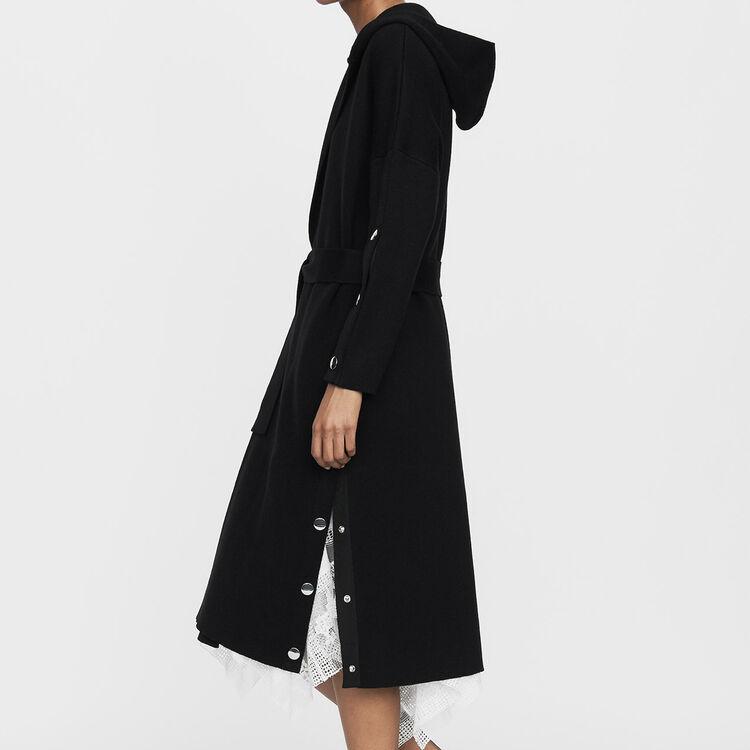 Cardigan lungo con cappuccio : Maglieria colore Nero