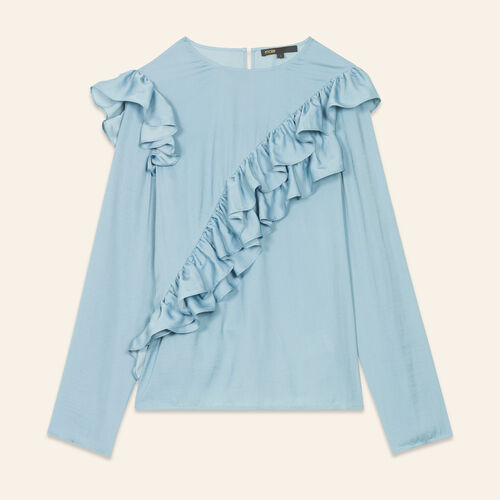 Top con volant : Tops colore Blu