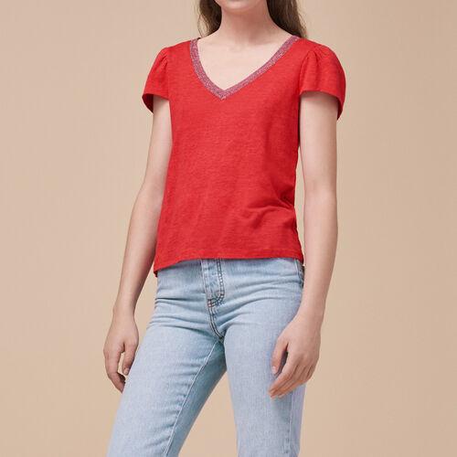 T-shirt in lino : Pullover e cardigan colore Rosso