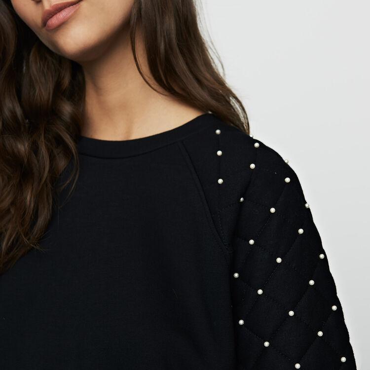 Felpa con perle e dettagli matelassé : Maglieria colore Nero