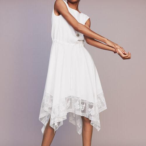 Vestito lungo senza maniche in pizzo : Vestiti colore Bianco