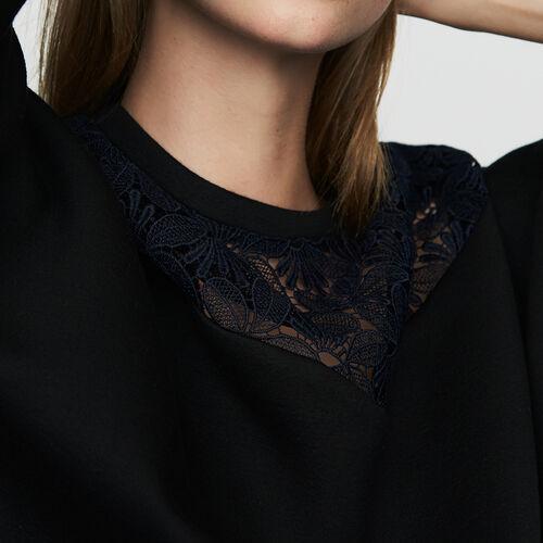Felpa con pizzo : Sweatshirts colore Nero