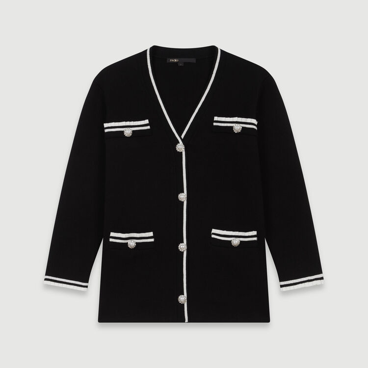 Cardigan a contrasto con gioielli : Pullover e cardigan colore Nero