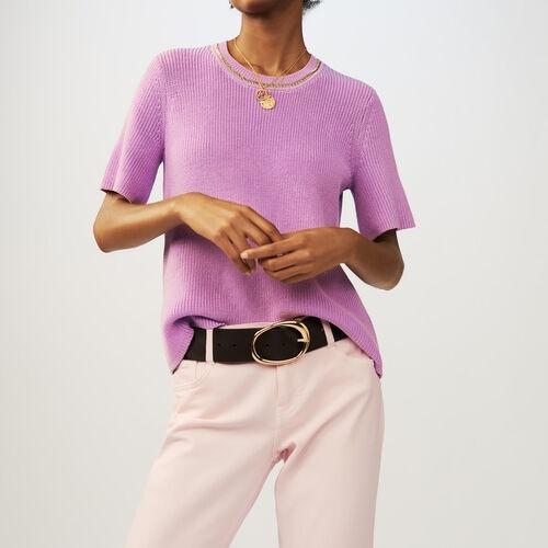 Pull a maniche corte in maglia : Pullover e cardigan colore LILAS