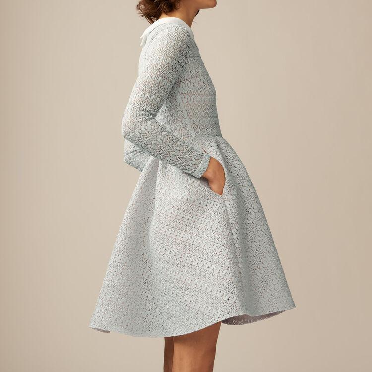 Vestito a corolla in maglia tecnica : Vestiti colore Ceruleo