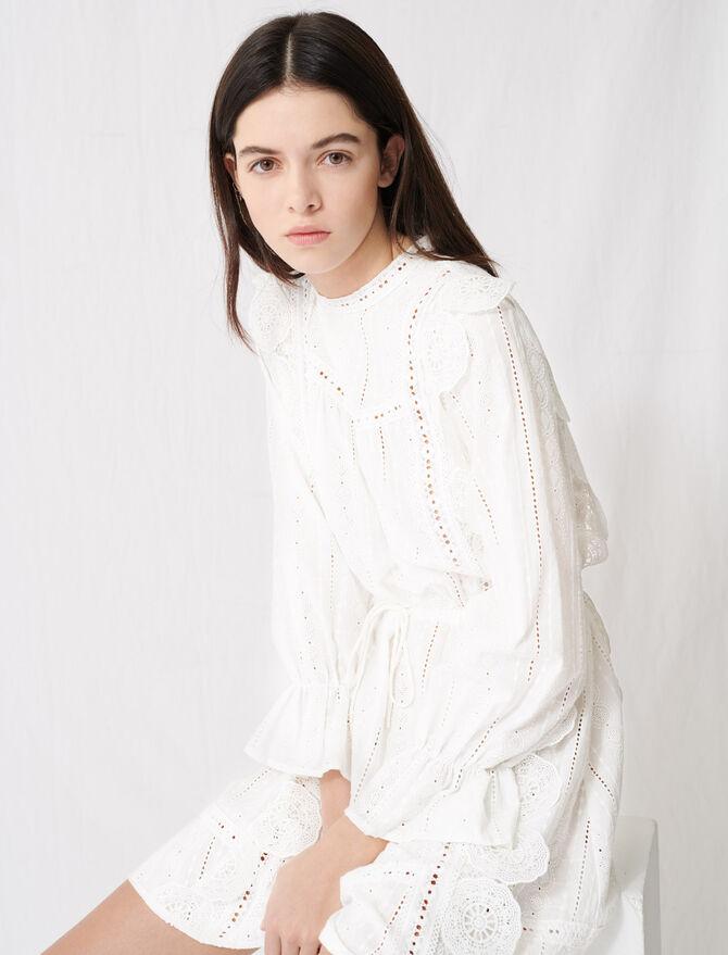 Abito bianco con ricamo inglese - Vestiti - MAJE