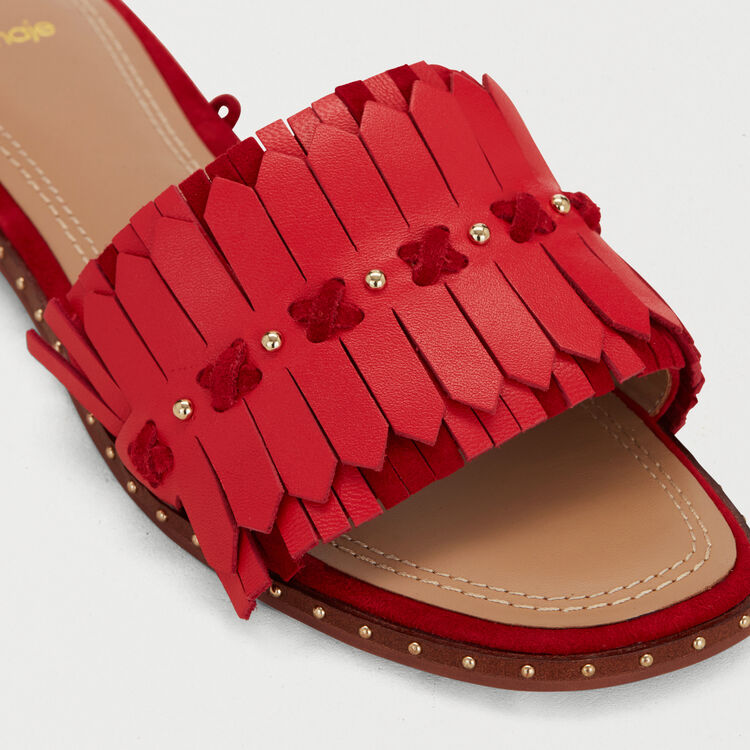 Sandali piatti con nastri in pelle : Scarpe piatte colore Rosso
