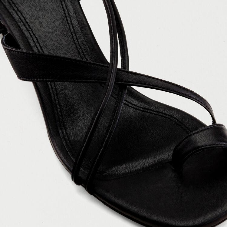 Sandali annodati con tacco basso : Scarpe colore Nero