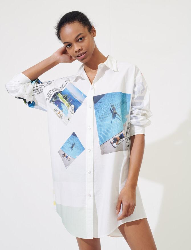 Camicia oversize in cotone stampato - Tops e Camicie - MAJE