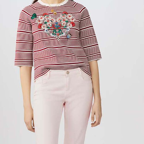 Striped jumper with embroideries : Maglieria colore A Righe