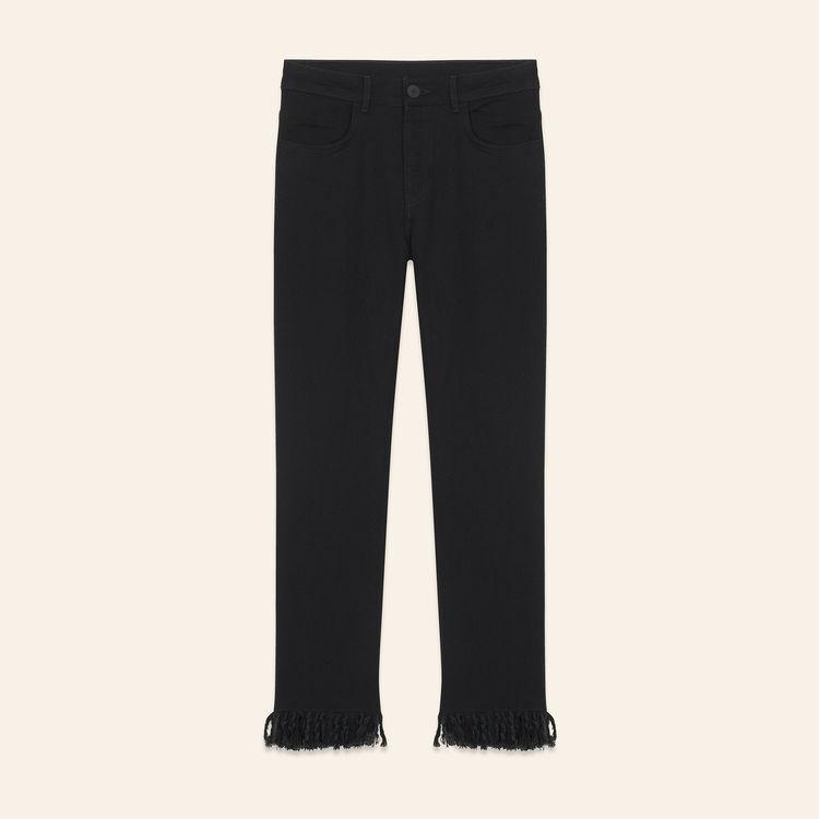 Jeans 7/8 con frange : Jeans colore Nero