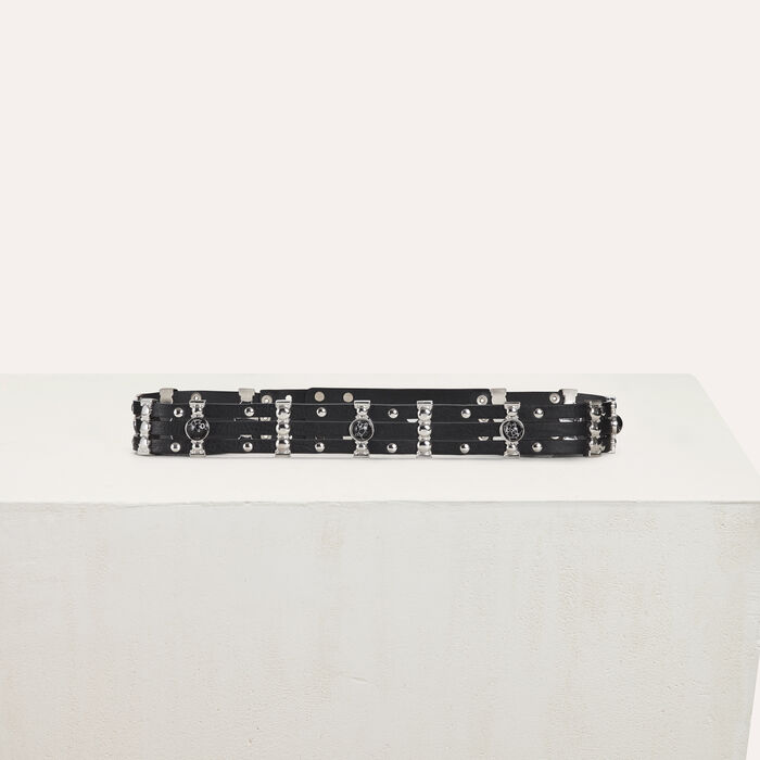 High-waisted leather belt and studs : Nuova collezione colore Nero