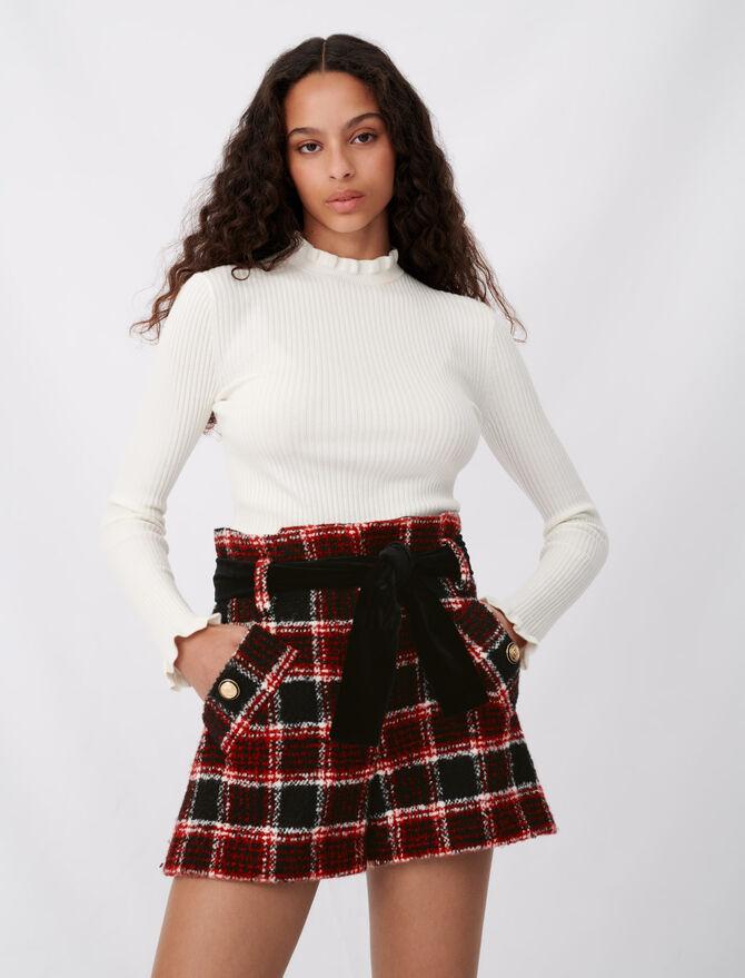 Short a quadri e cintura in velluto - Gonne e shorts - MAJE
