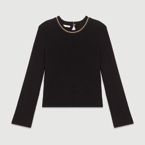 Maglia fine in coton misto a filati : Maglieria colore Nero