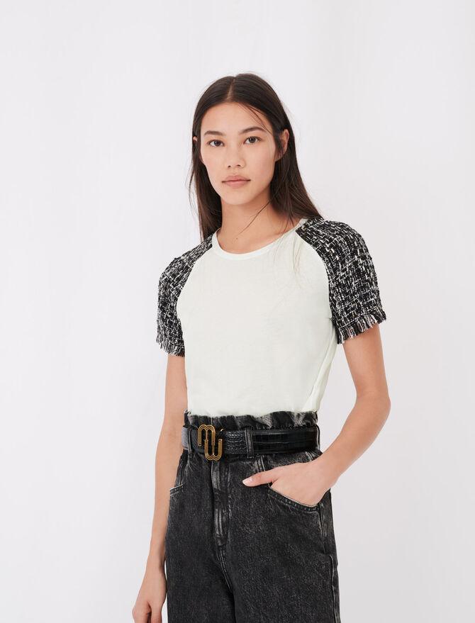T-shirt a maniche corte tipo tweed - Tops e Camicie - MAJE