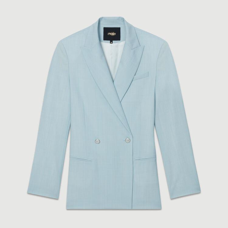 Blazer largo en lana mezclada : Giacche colore Ceruleo