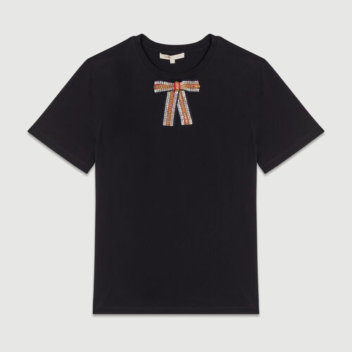 Tee-shirt loose con fiocco bijou : T-Shirts colore Nero