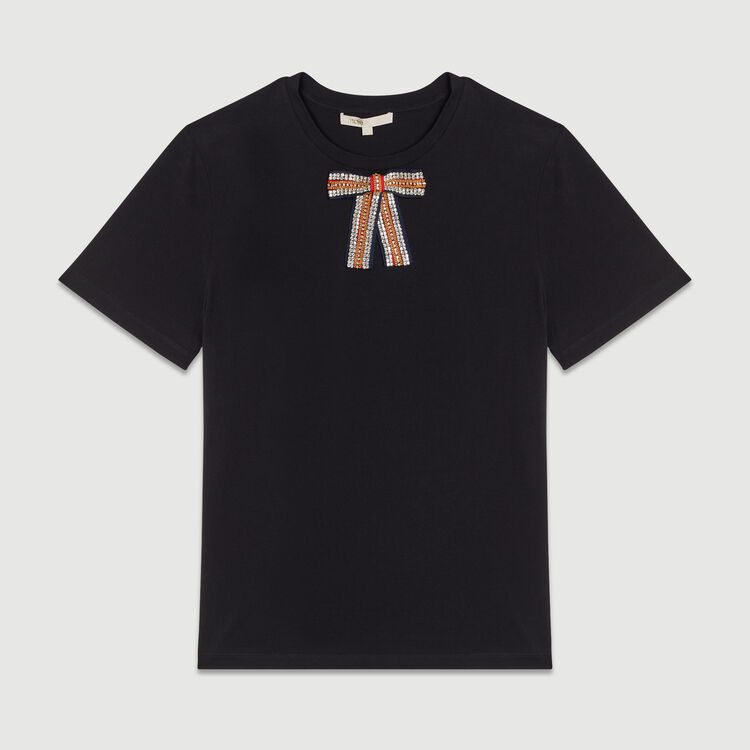 Tee-shirt loose con fiocco bijou : T-Shirts colore