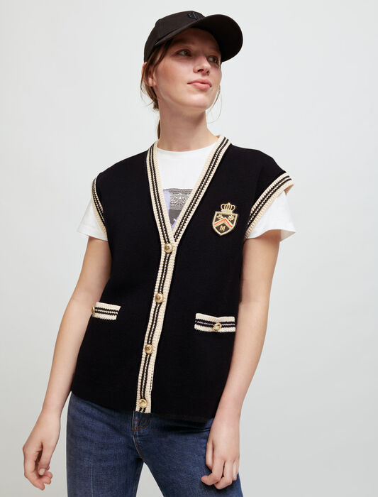 Cardigan senza maniche stile college : Pullover e cardigan colore Nero