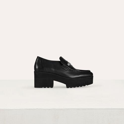 Mocassini platform in pelle con borchie : Scarpe piatte colore Nero