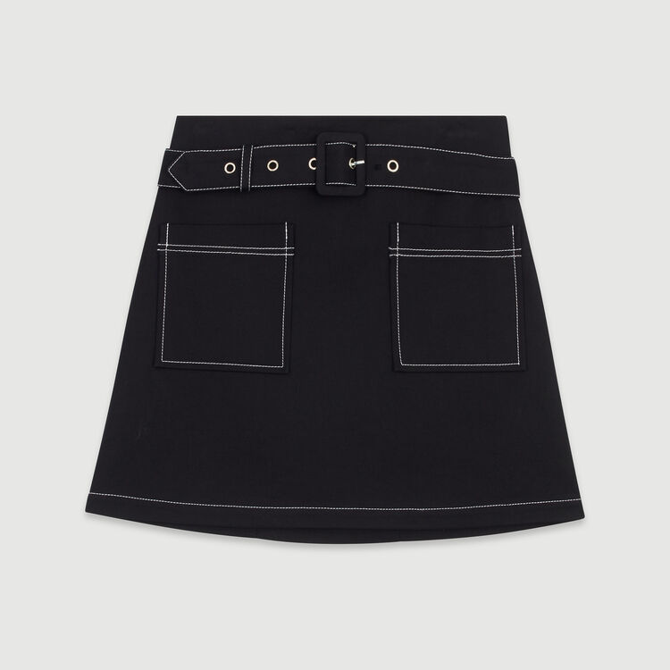 Gonna corta con gioco di impunture : Gonne e shorts colore Nero