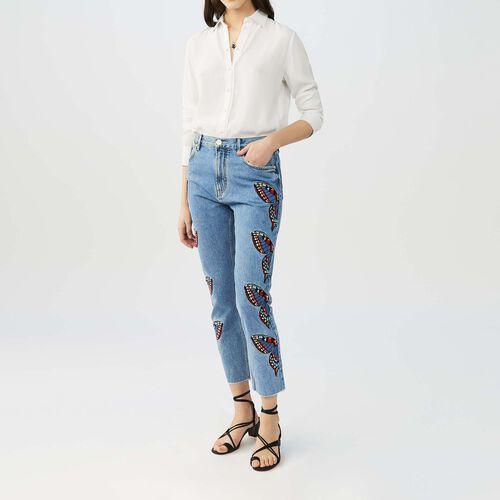 Jeans dritti con ricami farfalla : Jeans colore Denim