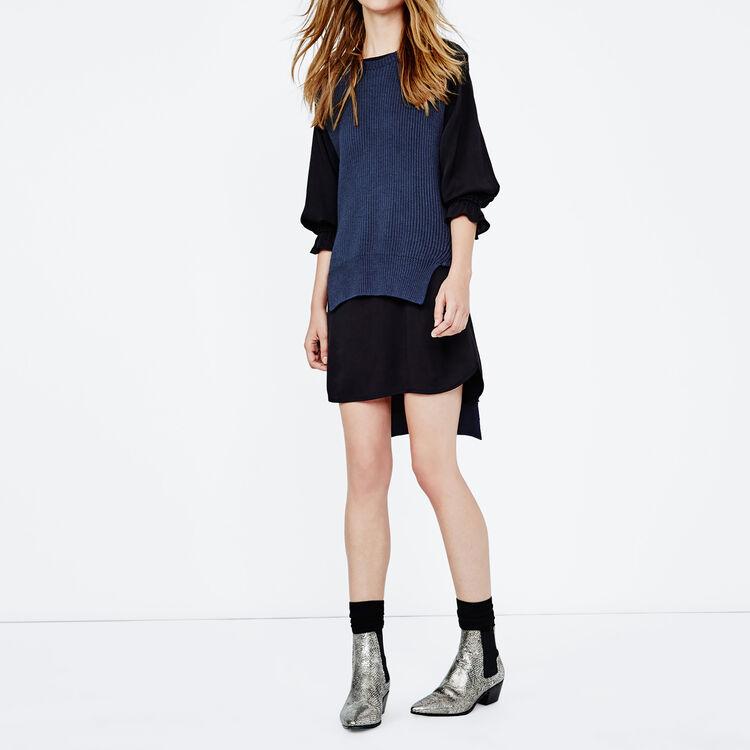 Pullover asimmetrico senza maniche lana : Basso Prezzo colore Blu Marino