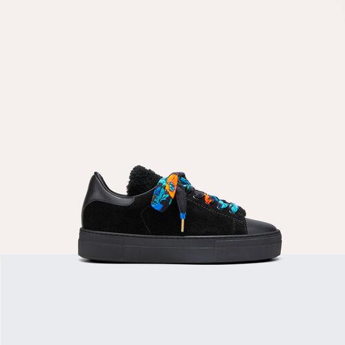 Sneaker bimateriale in pelle : Accessori colore Nero