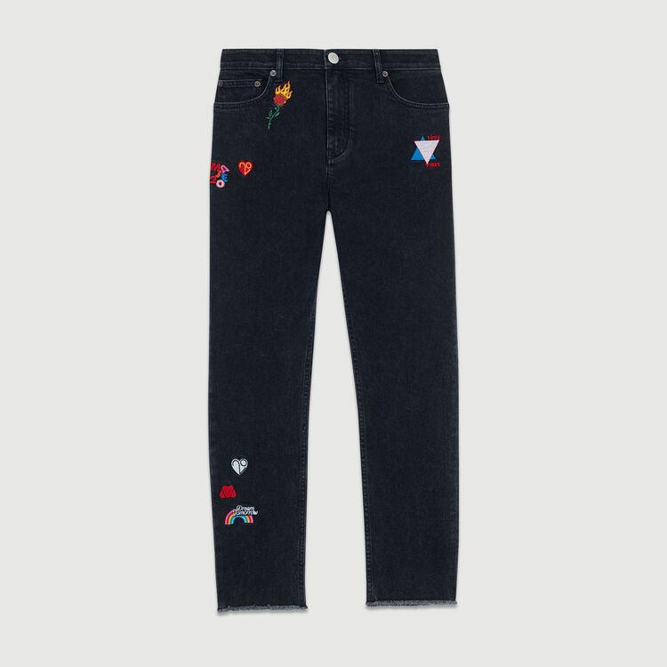 Jeans dritti con ricami : Jeans colore Grigio