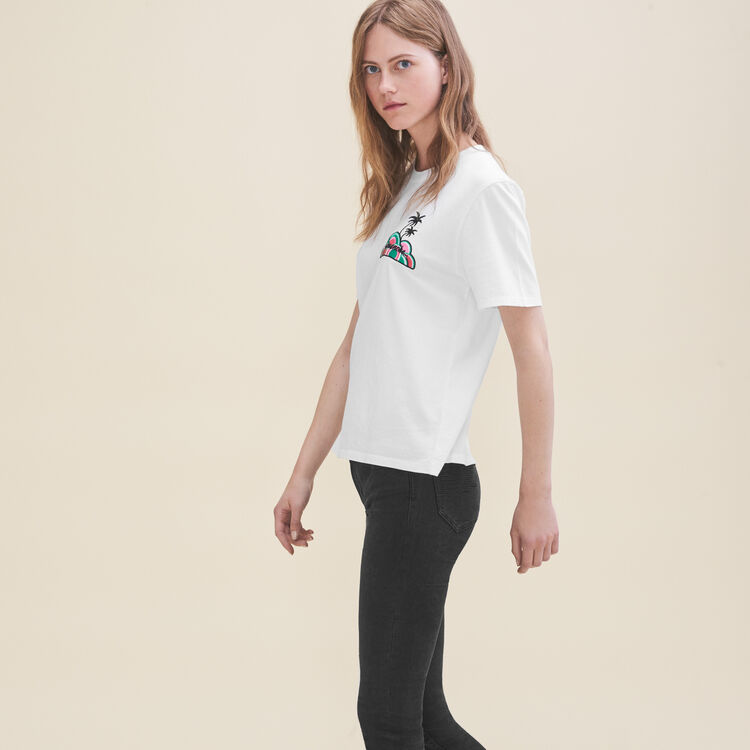 T-shirt ricamata Domenica : T-shirts colore Bianco