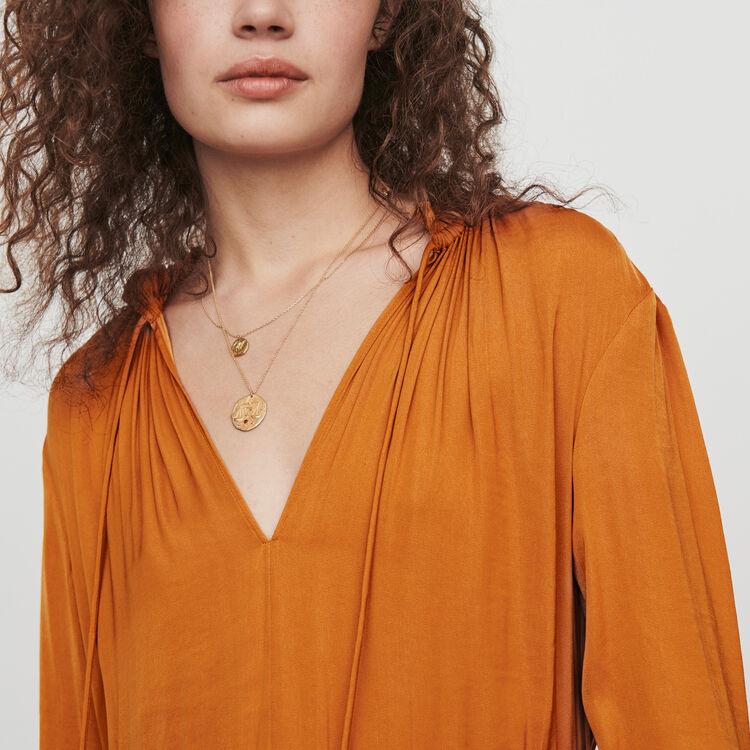 Vestito in satin con coulisse in vita : Vestiti colore Caramello