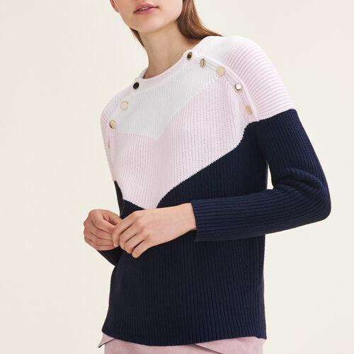 Pullover tricolore bottoni a pressione : Pullover e cardigan colore VERT