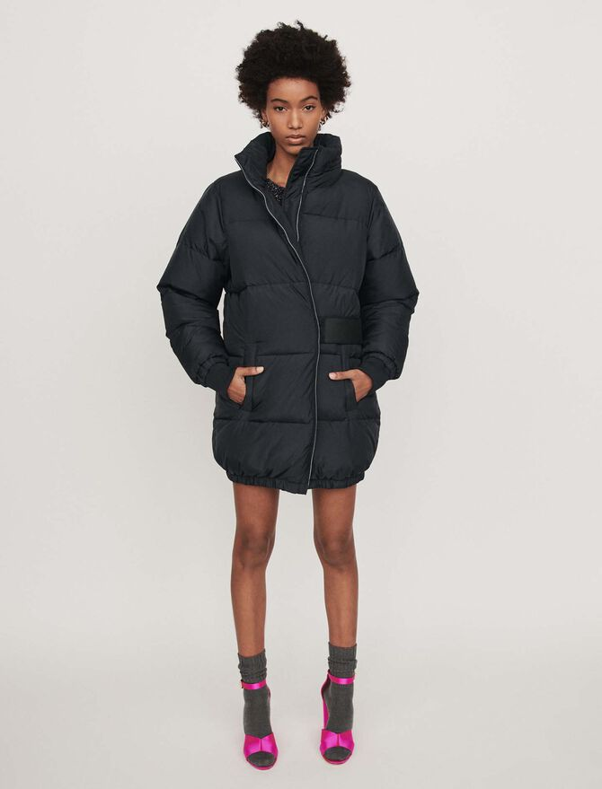 Long hooded puffer coat - Cappotti - MAJE