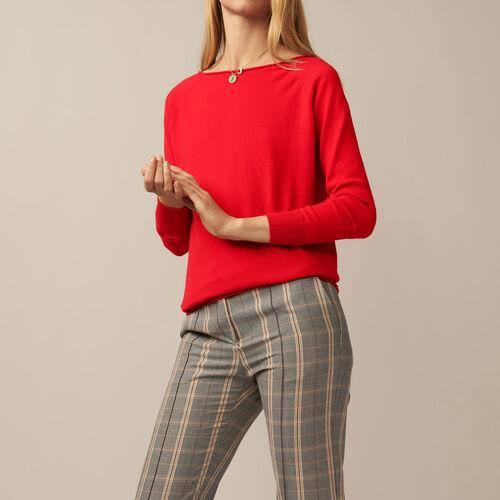 Pullover con scollo sul retro : Maglieria colore ROUGE