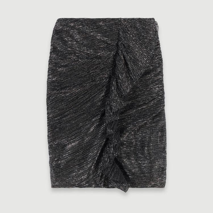 Gonna drappeggiata con volant in Lurex : Gonne e shorts colore Argento