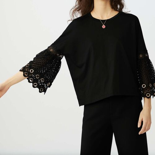 T-shirt with eyelet and mesh : T-Shirts colore Nero