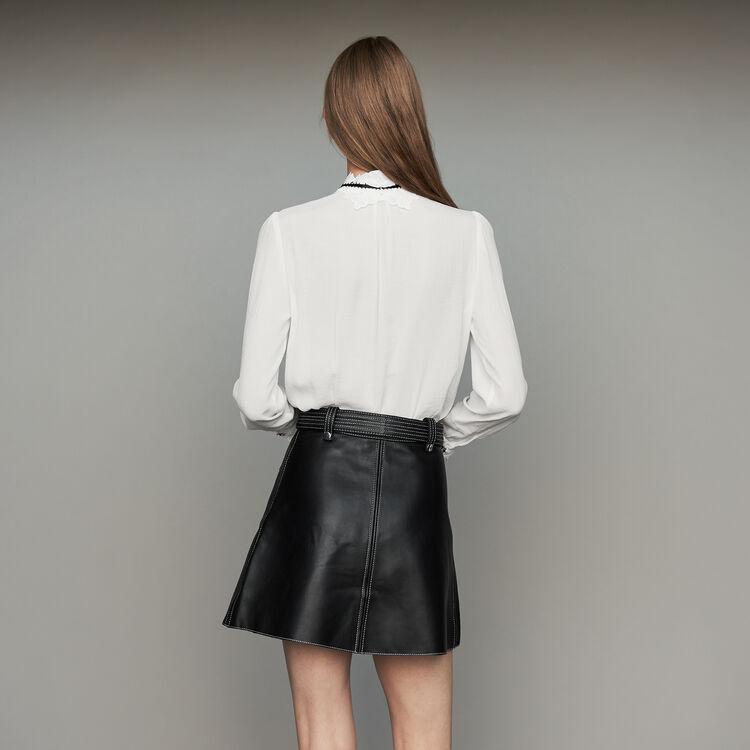 Camicetta con dettagli in guipure : Tops e Camicie colore Bianco