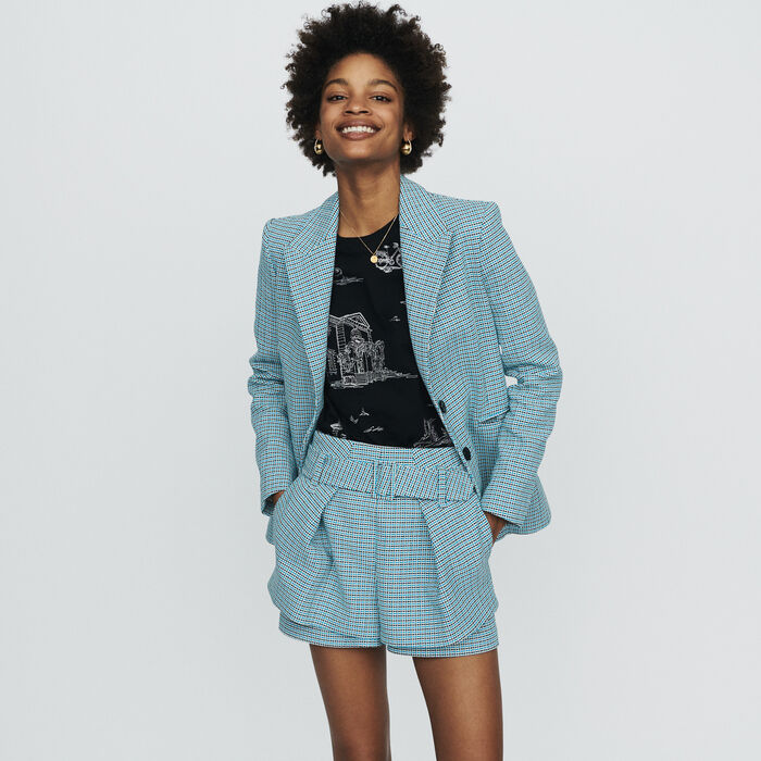 Giacca tailleur in natté stile tweed : Giacche colore Blu