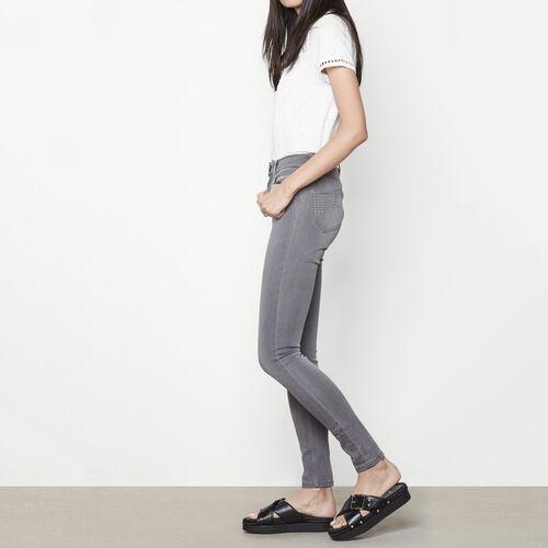 Jeans skinny a vita alta con ricami : Pantaloni & jeans colore Grigio