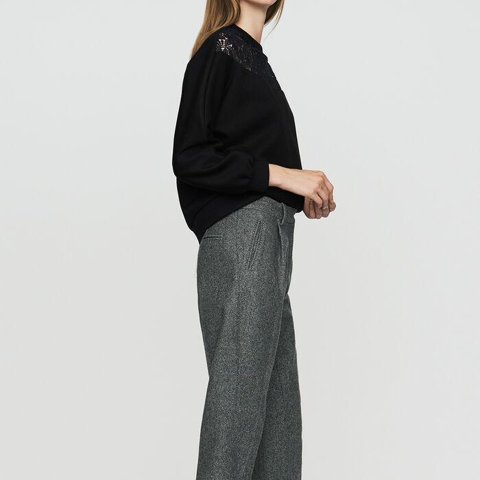 Pantaloni con pinces in misto lana : Pantaloni colore Grigio