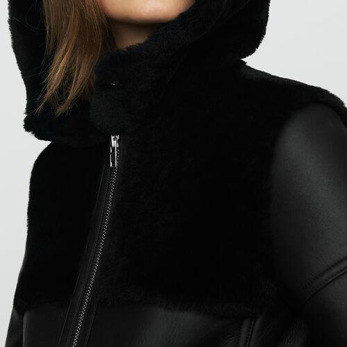 Montone lungo con gioco di materiali : Cappotti colore Nero
